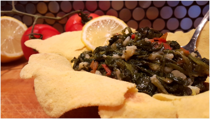 spinach and rice tortilla cup