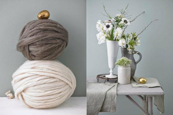 Pâques-idées-de-décoration-dartisanat-Tischdeko-fleurs-daisance-fil-couleur-naturelle-or-oeufs-de-Pâques-Harrow