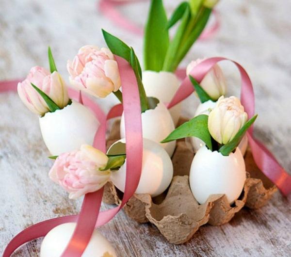 Pâques-idées-de-décoration-dartisanat-Tischdeko-seau-lapin-de-Pâques-chien-Figure-métal-bricolage-tulipes-blanches
