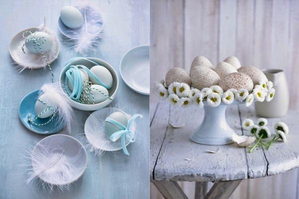 Pâques-idées-de-décoration-doeufs-de-bricoler-puristes-marguerites-au-printemps-décoration-blanche